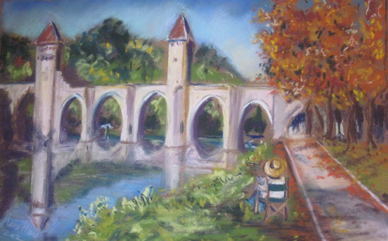Pont-Valentre-and-artist