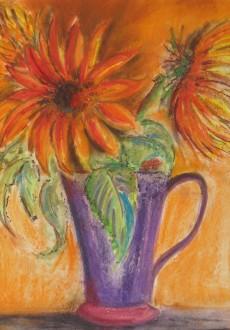 Sunflowers-in-purple-jug