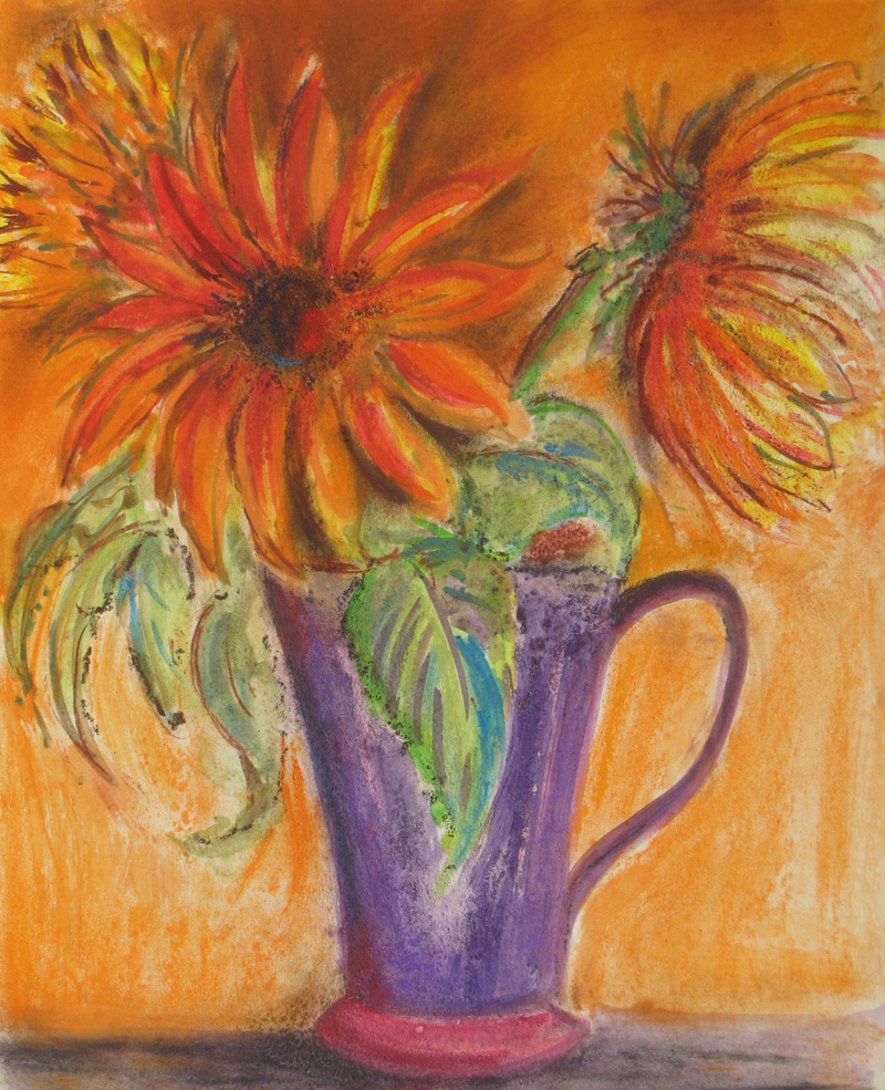 Sunflowers-in-purple-jug