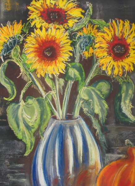Sunflowers-in-silver-vase