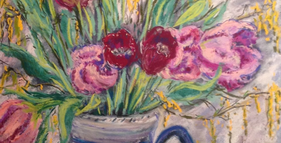 Parrot tulips in Charlotte Rhead Vase
