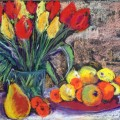 Fruit & Tulips still life