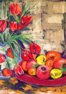 Red tulips & fruit (1005x1024)